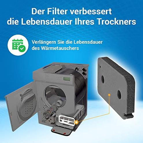 Filtro gommapiuma 215 130 mm scambiatore calore asciugatrice compatibile marche come Miele 9499230 VIOKS 4251623935040 Nero