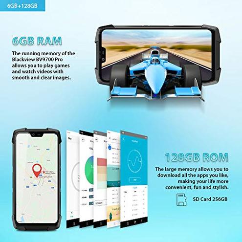 Smartphone Antiurto Blackview BV9700 Pro Rugged Cellulare 6GB 128GB SD 256GB Android 9 0 Helio P70 Dual Sim 4G 16MP 8MP 16MP 5 84 FHD Schermo Frequenza Cardiaca Qualit Dell'aria NFC Blackview Grigio LC-BV9700 Pro-Gray-EU CE