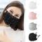 Women Pearl Lace Reusable Breathable Scarf Safe Máscara facial Washable Black Máscara faci...