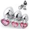 3 Size Anal Plug Heart Stainless Steel Crystal Anal Plug Removable Butt Plug Stimulator An...