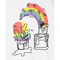 T-shirt bianca con stampa multicolor