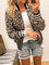 Giacca a maniche lunghe con zip frontale patchwork leopardata