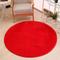 Tappeto Rotondo Rosso in Peluche Artificiale Lunga Decorativa di Lusso