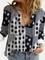 Camicetta patchwork con colletto rovesciato manica lunga stampata vintage per donna