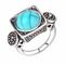 Anello di barretta di modo blu turchese cristallo geometrico antico argento anelli gioiell...