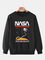 Felpe pullover allentate casual in tinta unita con stampa grafica spaziale della NASA da u...
