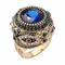 Anelli di Boemia Anelli con strass blu placcato oro anelli geometrici tondi per donna
