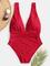 Costume da bagno donna Monokini con scollo largo cinturini arricciati vita solida One pezz...