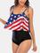 Costumi da bagno donna a vita alta Bandiere America Spallacci Stringate Stelle Stampa a ri...