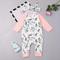 Pagliaccetto a maniche lunghe per bebè in cotone comodo stampato floreale con fascia per 0...