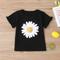 T-shirt casual a maniche corte stampa margherita bambina per 2-8 anni