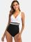 Costume da bagno donna Plus Taglia con cintura patchwork senza schienale Dimagrante One Pe...