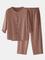 O-Collo con bottoni in cotone da uomo Camicia e Pantaloni Coords Set da salotto a due pezz...
