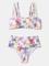 Beachwear bikini a vita alta con spalline regolabili con stampa floreale da donna