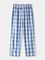 Pigiama per la casa in cotone traspirante con plaid blu sul cavallo Pantaloni con tasche e...