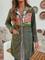 Cappotto etnico in velluto a coste con tasche applicate con stampa vintage