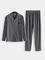 Pigiama a righe grigio scuro in cotone da uomo, confortevole loungewear a maniche lunghe a...