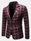 Colletto bavero plaid stile britannico casual da uomo Sottile Fit One Blazer decente con b...