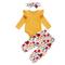 3 pezzi Top maniche maniche per bambina + fiori Pantaloni Set casual per 0-24 m