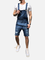 Salopette da uomo in denim lavato bretelle bore strappato pantaloncini casual Jeans