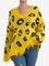 Maglione a maniche lunghe con scollo av strappato stampa leopardo casual