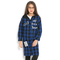 Girl's Plaid Letter Print Hooded Long Sleeves Casual Coat For 6-15Y