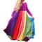Abito da principessa a maniche lunghe con stampa a arcobaleno da bambina Abito da principe...