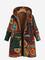 Cappotto vintage con cappuccio a maniche lunghe con stampa etnica spessa per donna
