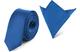 Ladeheid Set Cravatta Slim e Fazzoletto Taschino Uomo SP/P (150cm x 5cm, 22cm x 22cm, Blu)