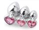 BONDAGERIE® Plug in Metallo con Diamante a forma di Cuore, colore Rosa, varie misure
