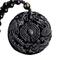 Collana yin yang amuleto, ciondolo TAO, Bagua, trigramma, dragone e fenice, ossidiana
