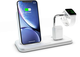 ZENS Qi/MFi certificato Stand+Dock+Watch Aluminium Wireless Charger Bianco, Fast Charging...