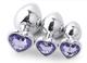 BONDAGERIE® Plug in Metallo con Diamante a forma di Cuore, colore Viola, varie misure
