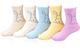 Calzini di cotone per bambine, motivo: gatto, con cuciture senza dita, confezione da 5 pai...
