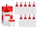 10 x 100 ml Octopus bottiglie di plastica in HDPE con tappi rossi a spruzzo e a goccia, pe...