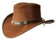 Brandslock - Cappello da cowboy a tesa larga, in vera pelle, stile western Outback Marrone...