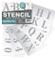 Stencil lettere - alfabeto numeri 50 mm altezza maiuscole ROMAN su 6 fogli di 200 x 148 mm