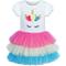 Sunny Fashion Vestito Bambina Arcobaleno Unicorno Tutu Danza Balletto Tiered Gonna 3 Anni