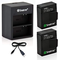 Smatree Hero3 Batterie 1290mAh (2-Pack) + Caricabatteria Doppia per GoPro Hero3, Hero3+, p...
