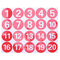 STOBOK Adesivi numerici rotondi in PVC Adesivi adesivi digitali rossi grandi 1-20 adesivi...