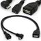 Cavo per splitter a Y USB Micro angolato Cavo per OTG Power Enhancer USB 2.0 A Micro a 90...