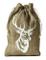 5 sacchetti in stile iuta lavata con stampa cervo in bianco, misura 30 x 20 cm, filo di co...