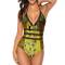 The Kiss by Gustav Klimt Women's One Piece Monokini Bikini Swimsuit Halter Bathing Suits S...
