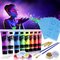 Lictin Vernice Fluorescente Colorato,Neon Kit per Pelle Viso Corpo,Fluo Party UV Body Pain...