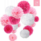 O-Kinee Pompon di Carta Rosa, 24 pz Paper Flower Ball Kit, Decorazioni per Matrimonio Fest...