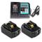 Ricambio caricatore rapido con 2 X batteria 18 V 4.0 Ah(LCD) per Makita rasaerba DLM380Z D...