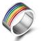 Vnox Jewelry Gay & Lesbian Pride in acciaio inossidabile arcobaleno smalto Band Ring fidan...