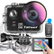 Yarber Action Cam, 8K 20MP Wi-Fi Impermeabile 40M Touch Screen EIS Comando Vocale con Tele...