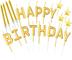 byou Candele di Compleanno,Candele per Torta 21 Pezzi Oro Star Toppers Happy Birthday Lett...