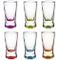 Set di 6 bicchierini da liquore, da 2,5 cl, in vetro colorato